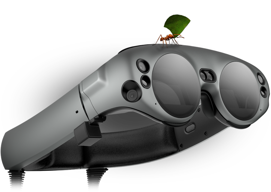 Magic Leap headset with BBC Earth ant on top